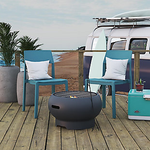 """Novogratz Poolside Collection Asher 27"""" Wood Burning Fire Pit with Grilling Surface, , rollover"""
