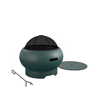 """Novogratz Poolside Collection Asher 27"""" Wood Burning Fire Pit with Grilling Surface, , large"""
