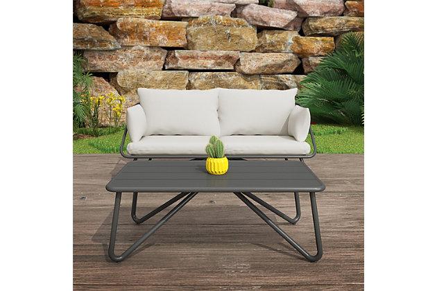 Novogratz Poolside Gossip Collection Teddi Outdoor Loveseat and Coffee Table Set, , large