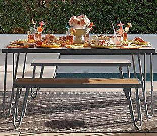 Novogratz Poolside Gossip Collection Paulette Outdoor Table and Bench Set, , rollover