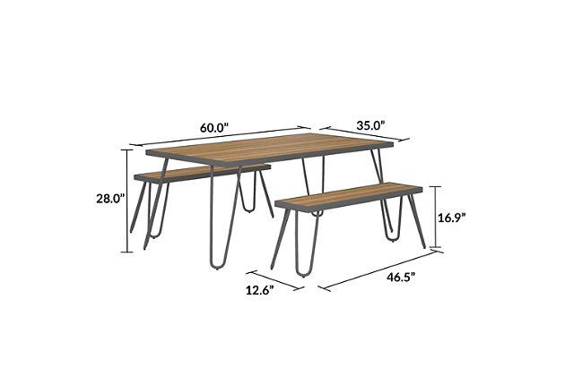 Novogratz Poolside Gossip Collection Paulette Outdoor Table and Bench Set, , large