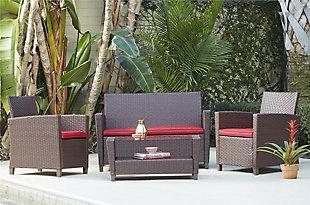 COSCO Outdoor Living 4-Piece Malmo Resin Wicker Patio Deep Seating Conversation Set, , rollover