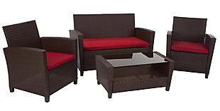 COSCO Outdoor Living 4-Piece Malmo Resin Wicker Patio Deep Seating Conversation Set, , large