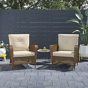 COSCO Outdoor Living Steel Woven Wicker Patio Lounge Chair (Set of 2), , rollover