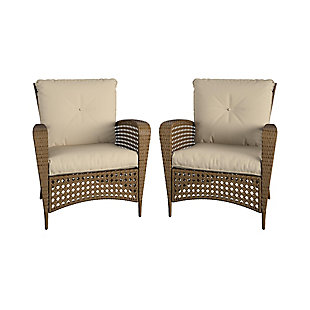 COSCO Outdoor Living Steel Woven Wicker Patio Lounge Chair (Set of 2), , large
