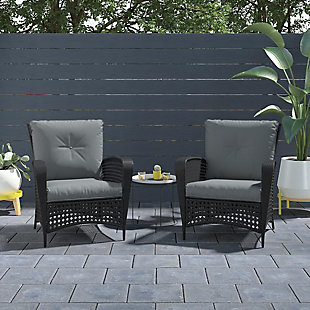 COSCO Outdoor Living Lakewood Ranch Steel Woven Wicker Lounge Chair with Cushion (Set of 2), , rollover