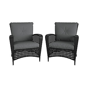 COSCO Outdoor Living Lakewood Ranch Steel Woven Wicker Lounge Chair with Cushion (Set of 2), , large
