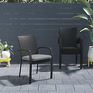 COSCO Outdoor Living Lakewood Ranch Steel Woven Wicker Stacking Dining Chair with Cushion (Set of 6), , rollover