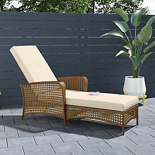 COSCO Outdoor Living Adjustable Chaise Lounge Chair with Cushion, , rollover