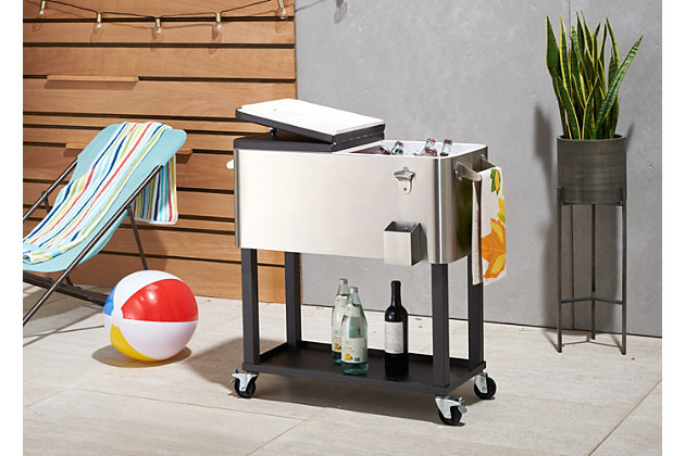 TRINITY Outdoor 80 Quart Stainless Steel Cooler with Shelf, , large