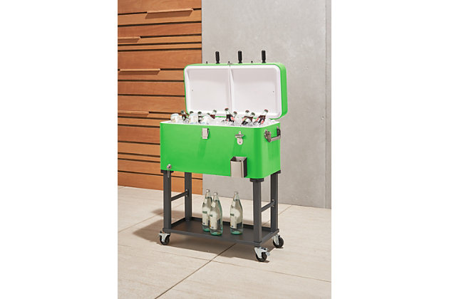 TRINITY Outdoor 80 Quart Foosball Cooler Detachable Tub with Cover, Electric Green, large