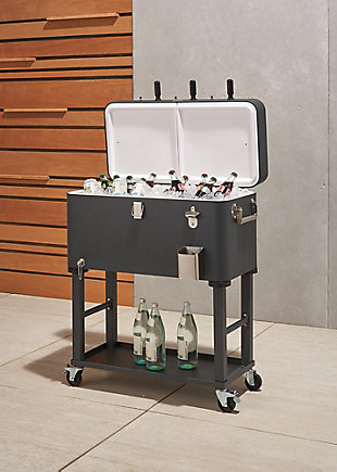 TRINITY Outdoor 80 Quart Foosball Cooler Detachable Tub with Cover, Charcoal Gray, large