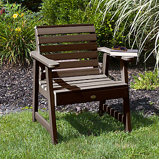 Highwood® Weatherly Outdoor Garden Chair, Weathered Acorn, rollover
