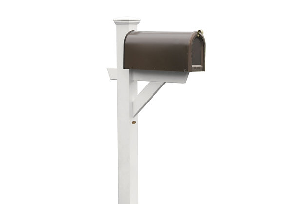 Highwood® Hazleton Outdoor Mailbox Post, White, large