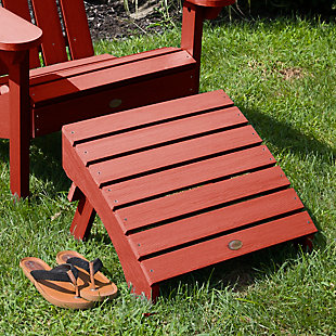 Highwood® Adirondack Outdoor Folding Ottoman, Rustic Red, rollover
