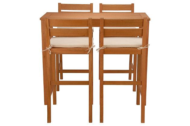 National Tree Company 5-Piece Eucalyptus Grandis Wood Bar Table Set, Natural, large