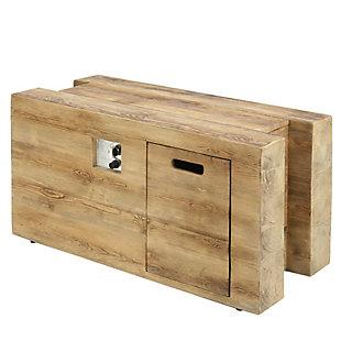 National Tree Company Rustic Woodgrain MGO Propane Fire Pit Table, , large