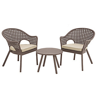 National Tree Company 3-Piece Rattan Style All-Weather Chat Set, Brown, large