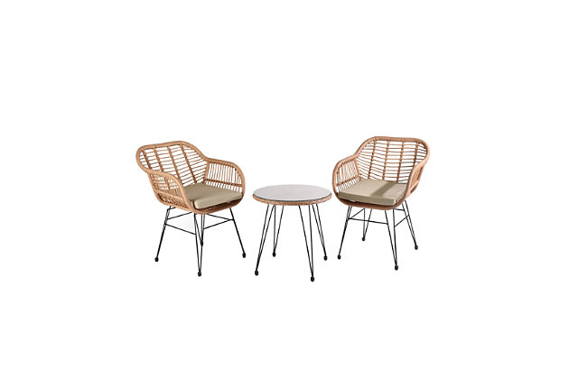 Westin Outdoor Luton 3-Piece Bistro Set With Cushions, Beige, large