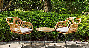 Westin Outdoor Luton 3-Piece Bistro Set With Cushions, Gray, rollover