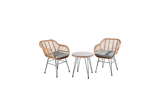 Westin Outdoor Luton 3-Piece Bistro Set With Cushions, Gray, large