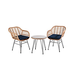 Westin Outdoor Luton 3-Piece Bistro Set With Cushions, Navy Blue, large