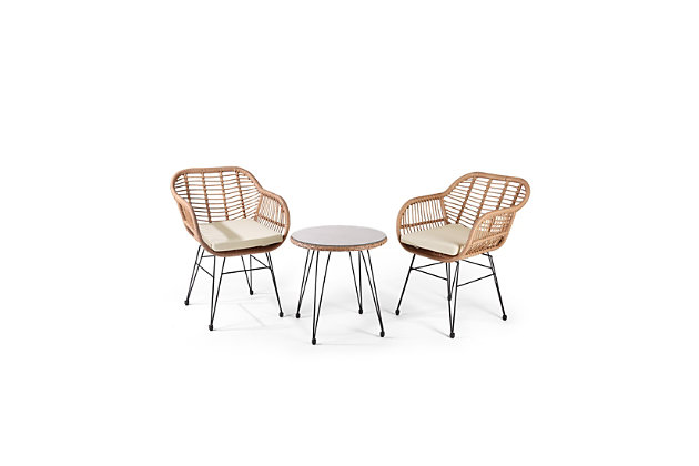 Westin Outdoor Luton 3-Piece Bistro Set With Cushions, White, large