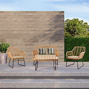 Westin Outdoor Watford 4-piece Wicker Patio Conversation Set With Cushions, Beige, large