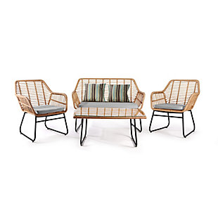 Westin Outdoor Watford 4-Piece Wicker Patio Conversation Set with Cushions, Gray, rollover