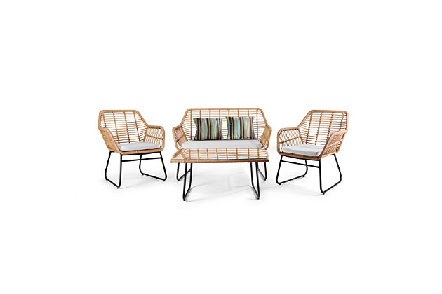 Westin Outdoor Watford 4-Piece Wicker Patio Conversation Set with Cushions, White, large
