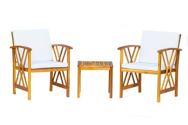 Westin Outdoor Porter 3-Piece Bistro Set With Cushions, White, large