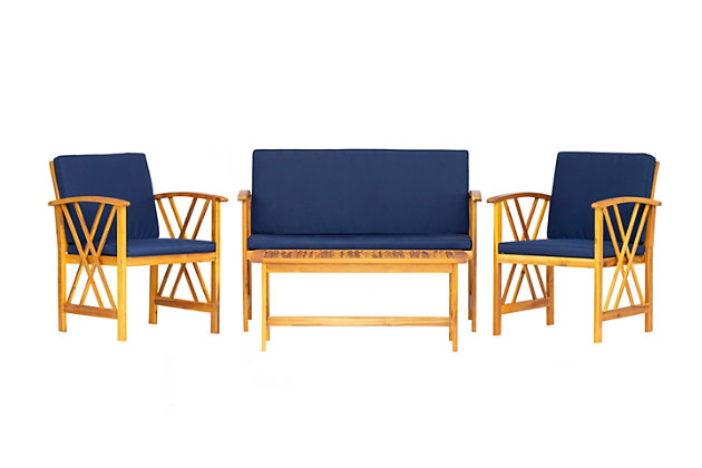 Westin Outdoor Elmhurst 4-Piece Sofa Seating Set with Cushions, Navy Blue, large
