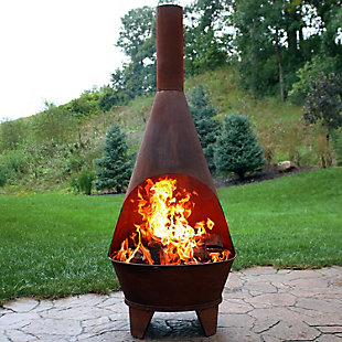 Sunnydaze 6' Outdoor Rustic Chiminea Wood-Burning Fire Pit, , rollover