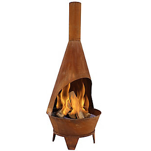 Sunnydaze 6' Outdoor Rustic Chiminea Wood-Burning Fire Pit, , large
