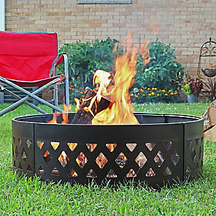 "Sunnydaze 36"" Outdoor Round Steel Crossweave Campfire Ring with Poker, , rollover"