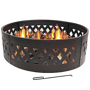 "Sunnydaze 36"" Outdoor Round Steel Crossweave Campfire Ring with Poker, , large"