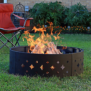"""Sunnydaze 36"""" Outdoor Heavy Duty Diamond Cut Out Campfire Ring with Poker, , rollover"""