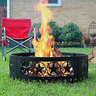 """Sunnydaze 36"""" Outdoor Four-Star Cut-Out Campfire Fire Ring With Poker, , rollover"""