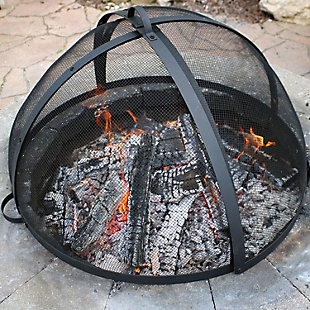 Sunnydaze Outdoor Fire Pit Spark Screen Easy Access Steel Mesh, , rollover