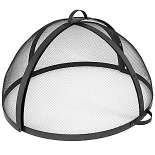 Sunnydaze Outdoor Fire Pit Spark Screen Easy Access Steel Mesh, , large