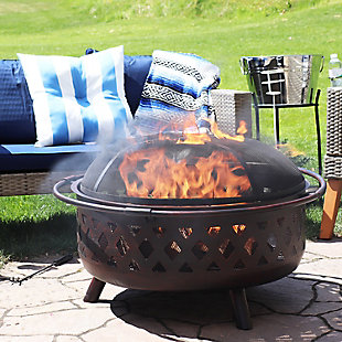 """Sunnydaze 36"""" Outdoor Bronze Crossweave Fire Pit and Accessories, , rollover"""