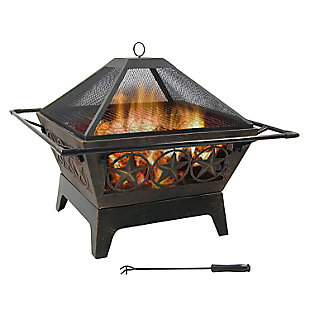 """Sunnydaze 32"""" Outdoor Northern Galaxy Square Fire Pit and Accessories, , large"""