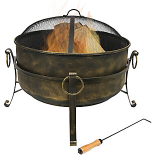 """Sunnydaze 24"""" Outdoor Steel Cauldron Fire Pit with Spark Screen, , large"""