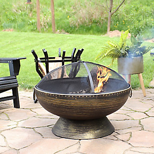 """Sunnydaze 30"""" Outdoor Firebowl Fire Pit and Accessories, , rollover"""