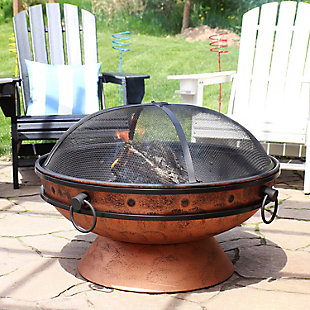 """Sunnydaze 30"""" Outdoor Royal Cauldron Copper Fire Pit and Accessories, , rollover"""
