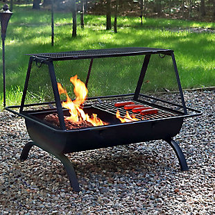 """Sunnydaze 36"""" Outdoor Northland Grill Fire Pit and Accessories, , rollover"""