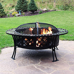 """Sunnydaze 40"""" Outdoor Diamond Weave Fire Pit and Accessories, , rollover"""