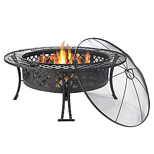"""Sunnydaze 40"""" Outdoor Diamond Weave Fire Pit and Accessories, , large"""