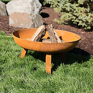"Sunnydaze 30"" Outdoor Rustic Cast Iron Fire Pit Bowl, , rollover"