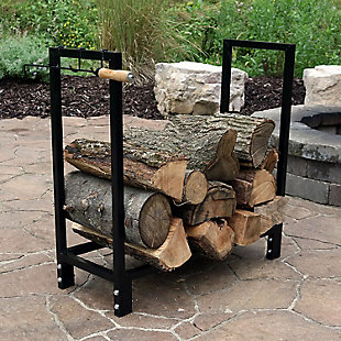 "Sunnydaze 30"" Outdoor Black Steel Firewood Storage Log Holder, , rollover"